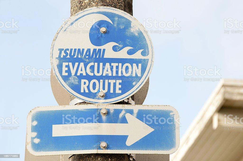 Tsunami Evacuation Sign stock photo