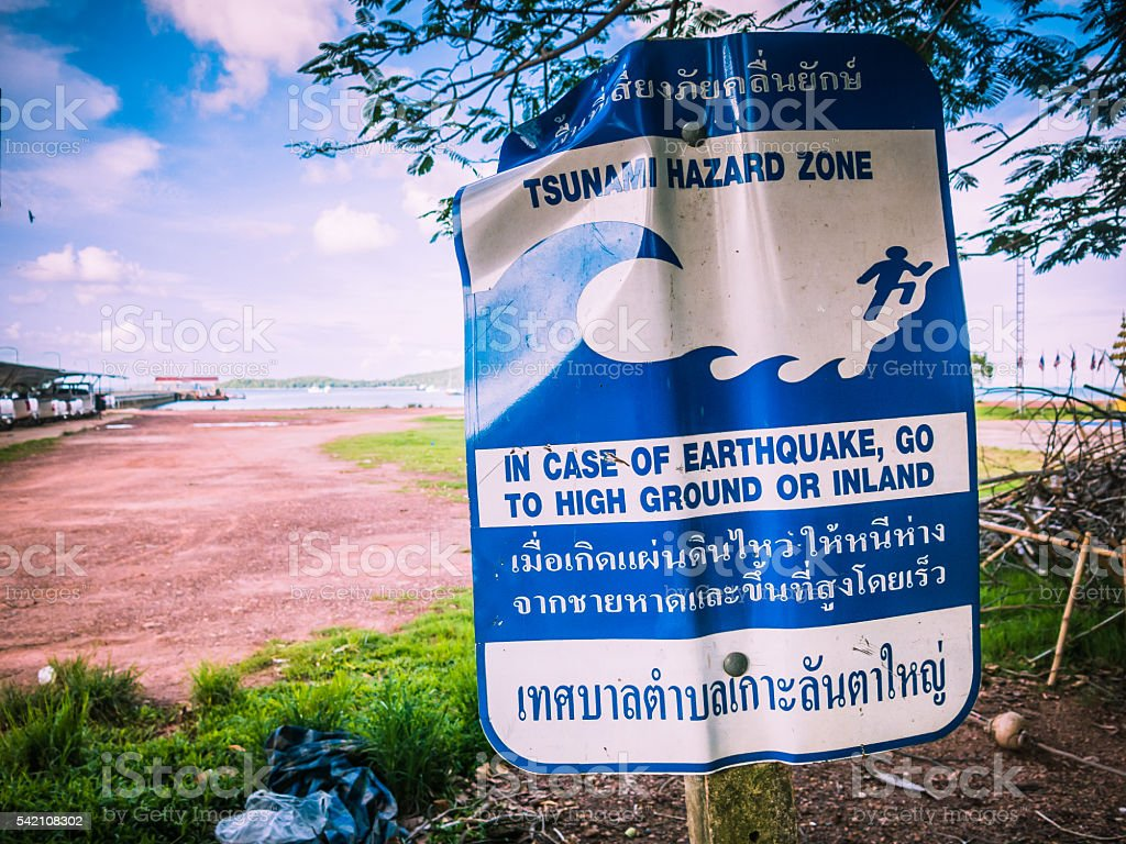 Tsunami Hazard Zone Earthquake Warning stock photo
