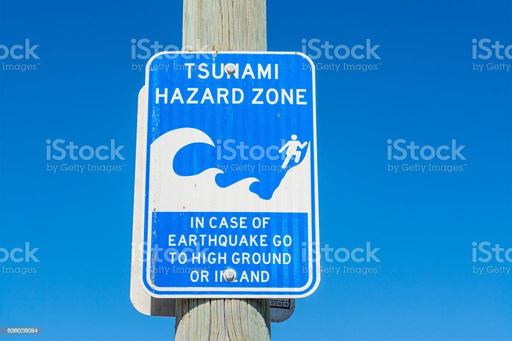 tsunami hazard zone sign in Los Angeles stock photo