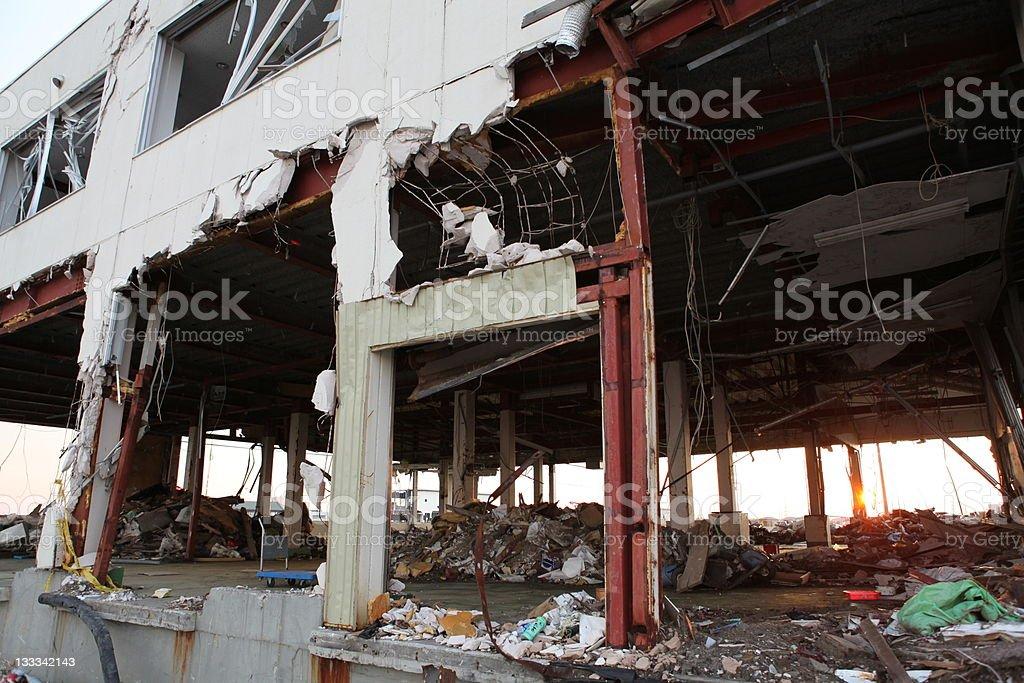 Tsunami hit building in Japan stock photo