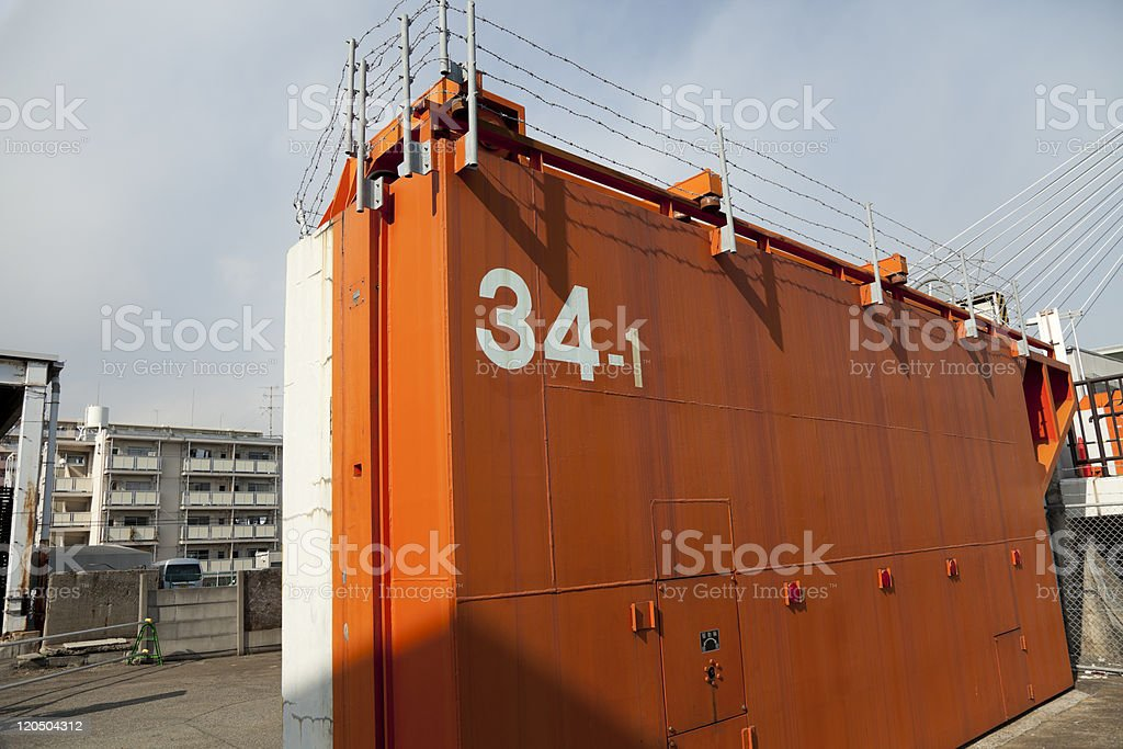 tsunami watertight door stock photo