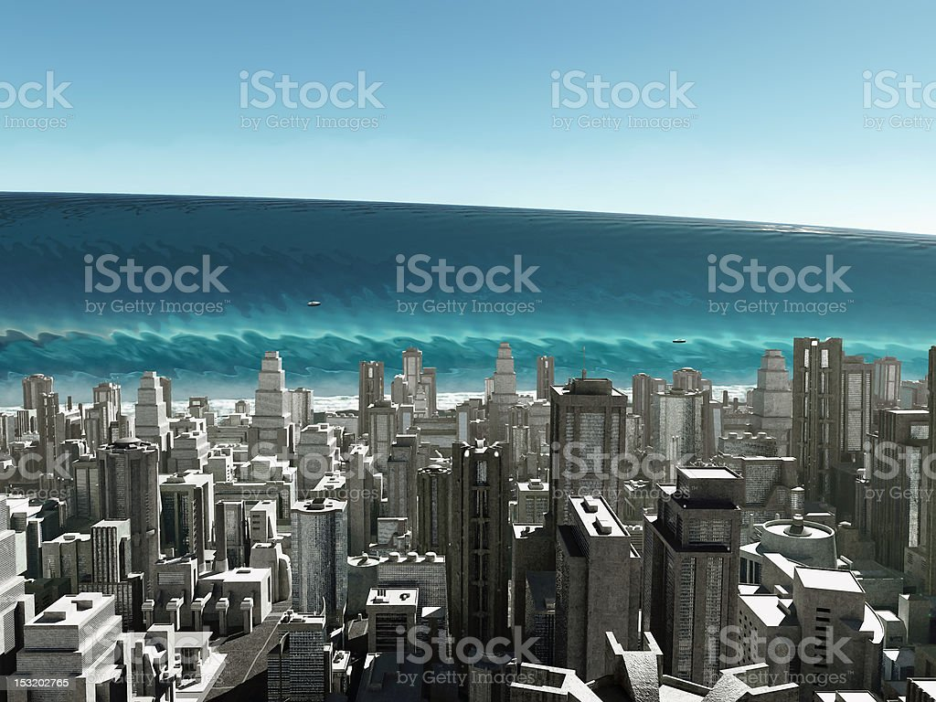 tsunami wave coming to city stock photo