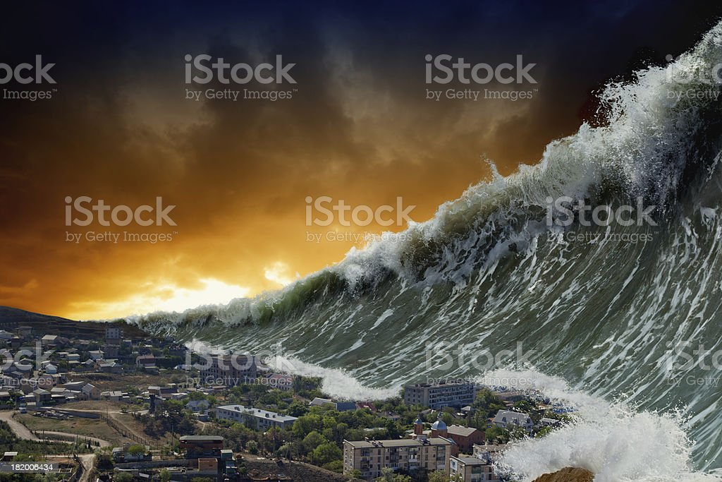Tsunami waves stock photo