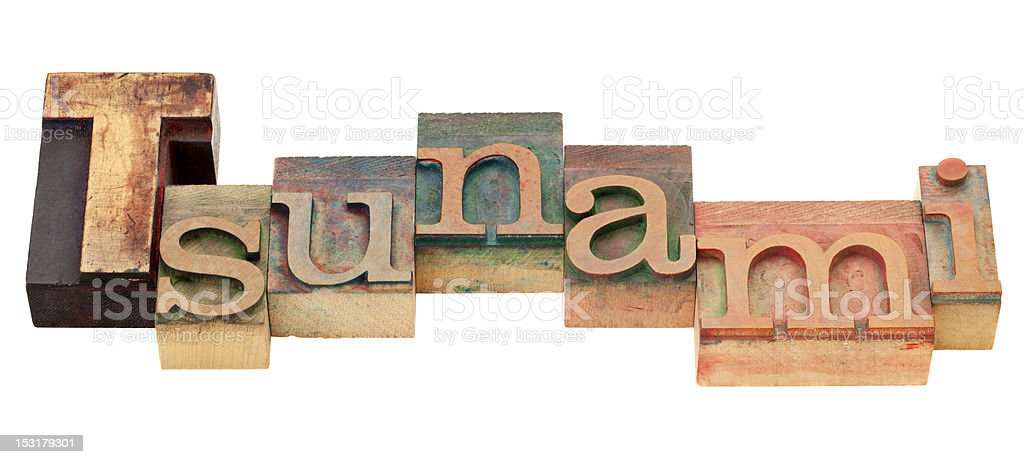 tsunami word in letterpress type royalty-free stock photo