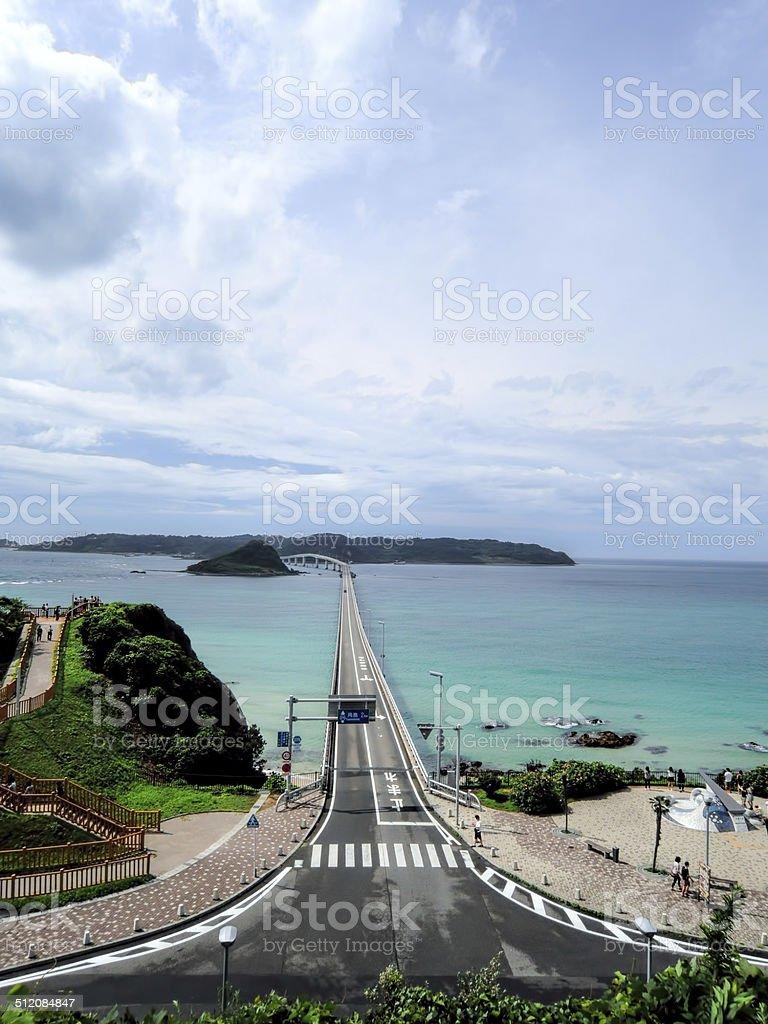 Tsunoshima Long Bridge stock photo