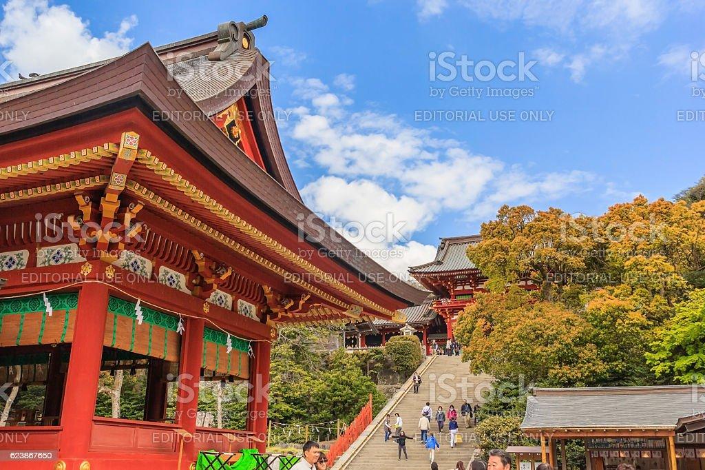Tsurugaoka Hachimangu Shrine in Kamakura stock photo