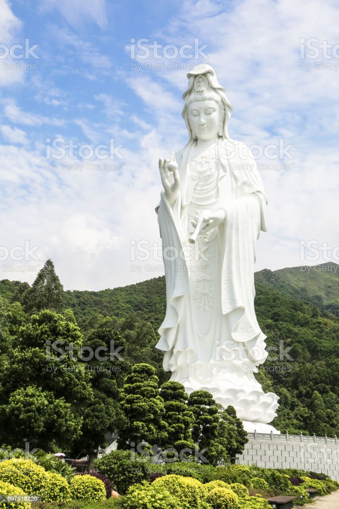 Tsz Shan Monastery.It is a Chinese Buddhist monastery in Tung Tsz.Much of the monastery building funds were donated by local business magnate Li Ka-shing.Guanyin in Hong Kong stock photo