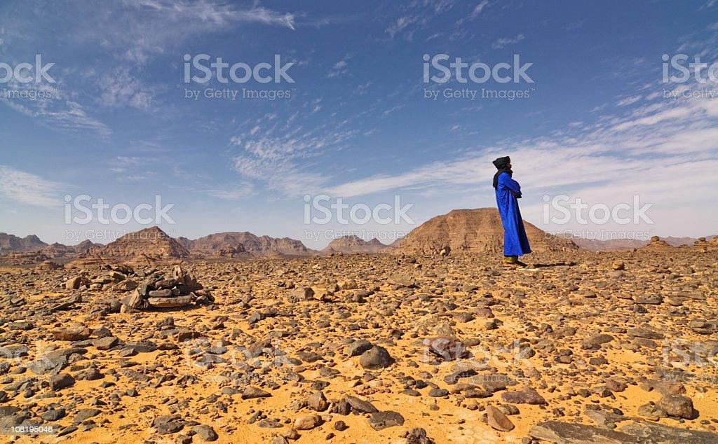 Tuareg in  Acacus Mountains or Tadrart Acacus , Libya stock photo