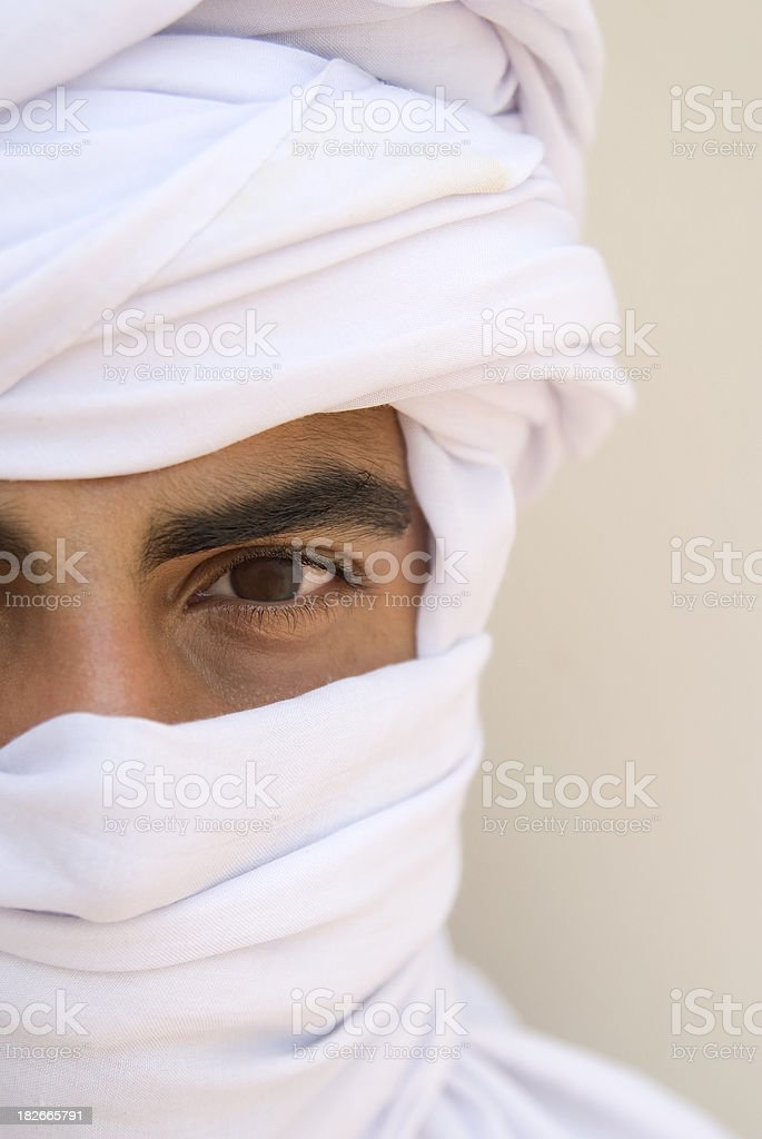 Tuareg Muslim man portrait with focus on the eye stock photo