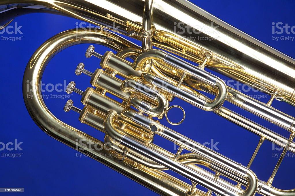 Tuba Euphonium Isolated on Blue stock photo
