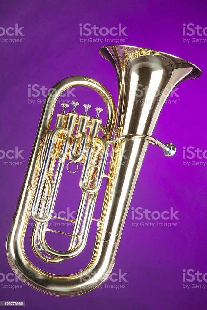 Tuba Euphonium Isolated on Purple stock photo