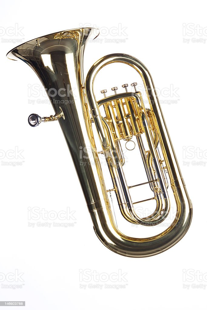Tuba Euphonium Isolated on White stock photo