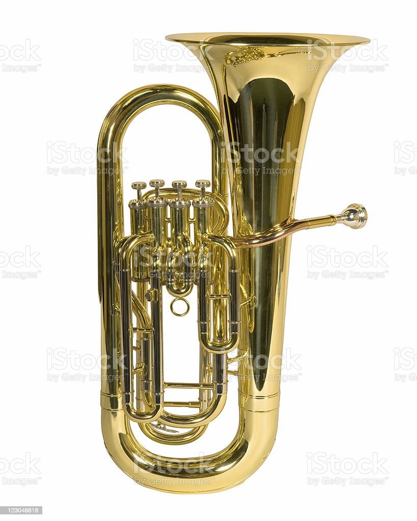 Tuba music instrument stock photo