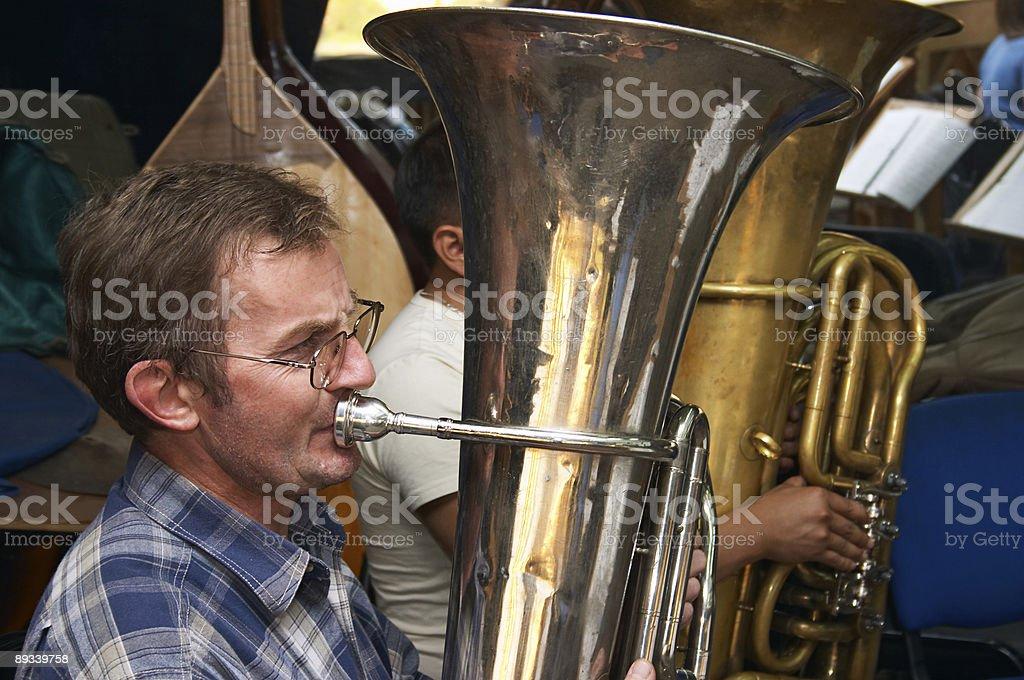 Tuba player royalty-free stock photo