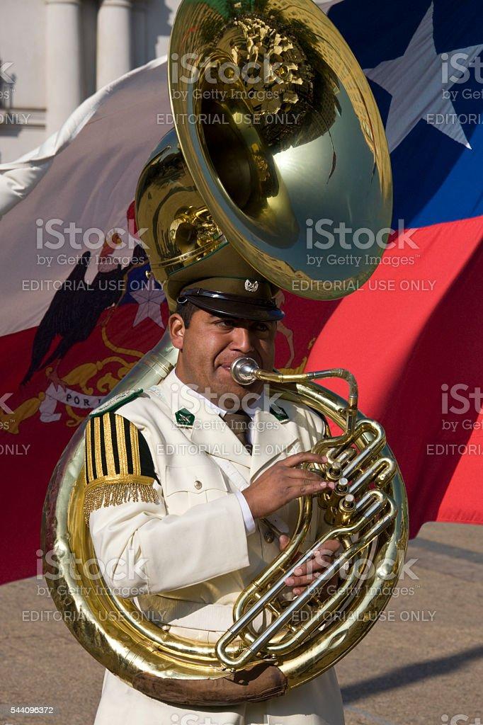 Tuba player - Presidential Band - Santiago - Chile stock photo
