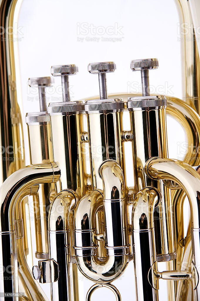 Tuba Valves Isolated Against A White Background stock photo