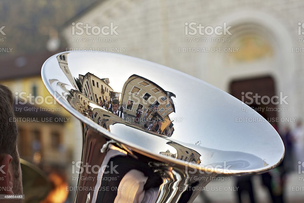 Tuba with reflections during a Wind Band street performance royalty-free stock photo