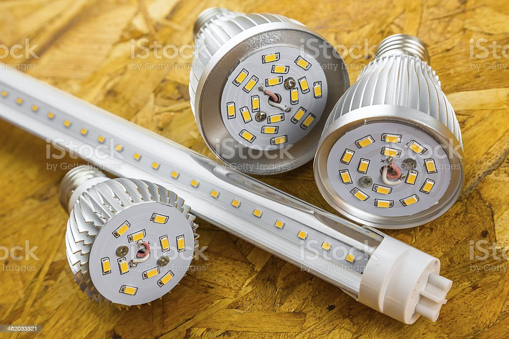 T8 LED tube and various chilled E27 bulbs stock photo