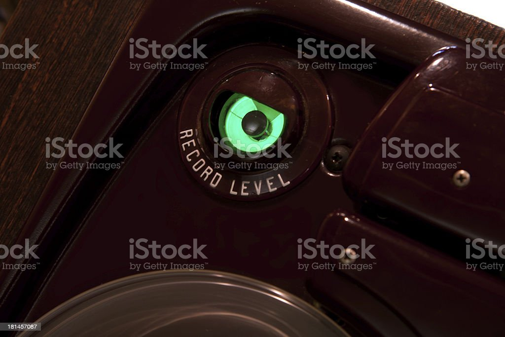 Tube green magic eye record level meter stock photo