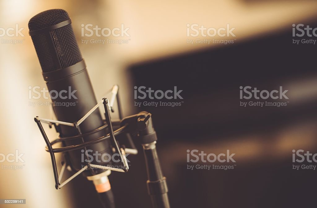 Tube Microphone in Studio stock photo