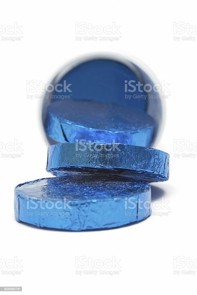 Tube of Wrapped Pills (Close Front View) royalty-free stock photo