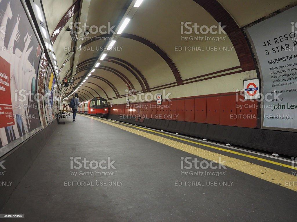 Tube platform in London stock photo