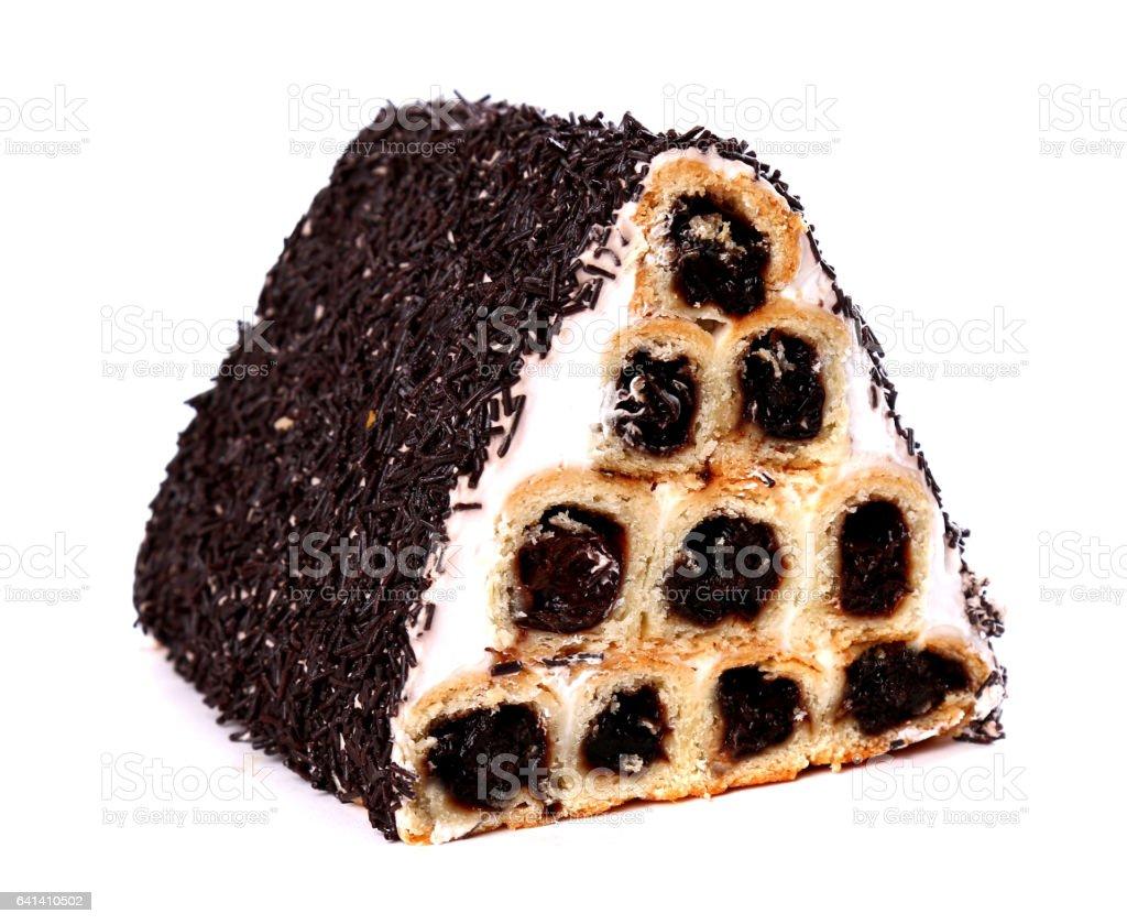 Tube shaped cake stock photo
