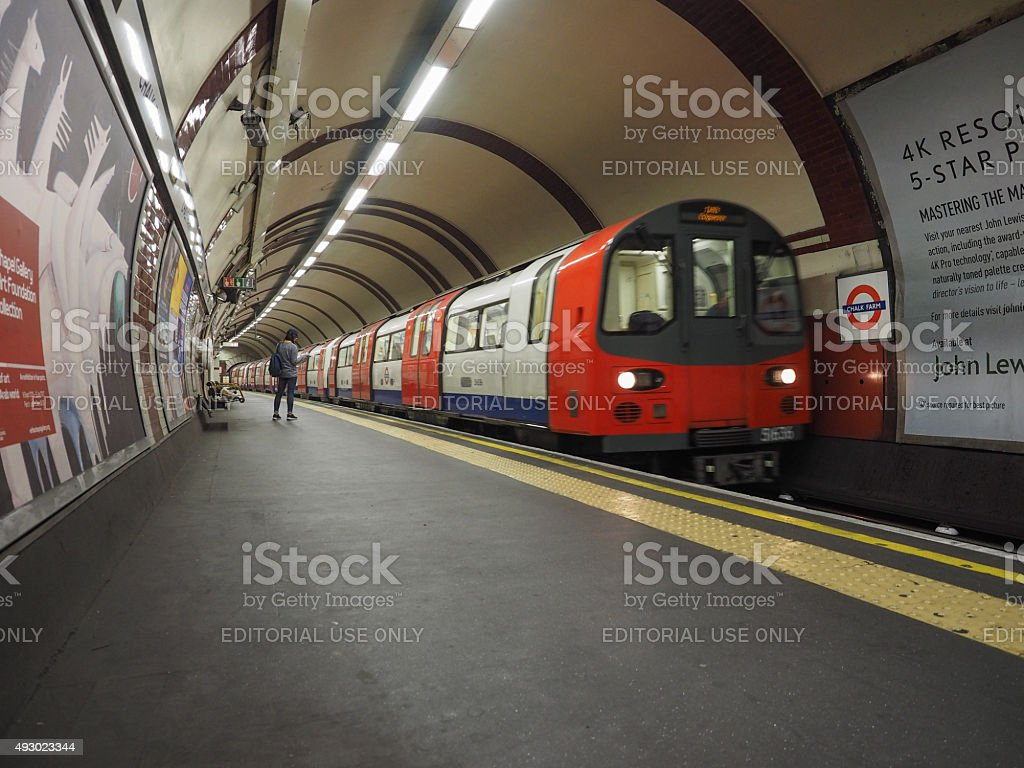 Tube train at platform in London stock photo