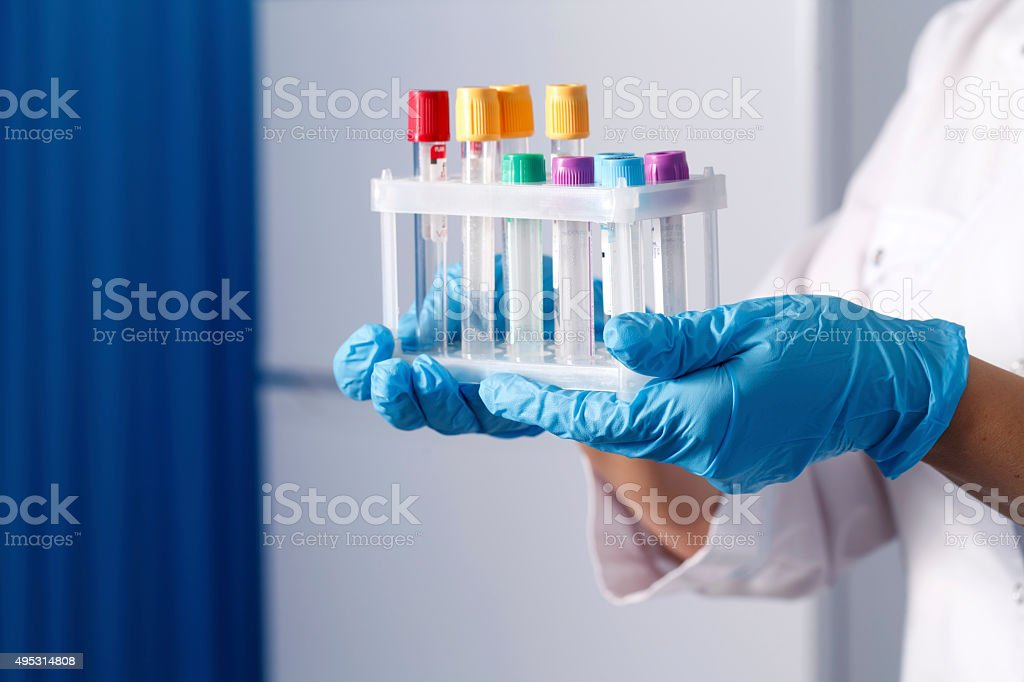 tubes for sampling and analyzes, medical background stock photo