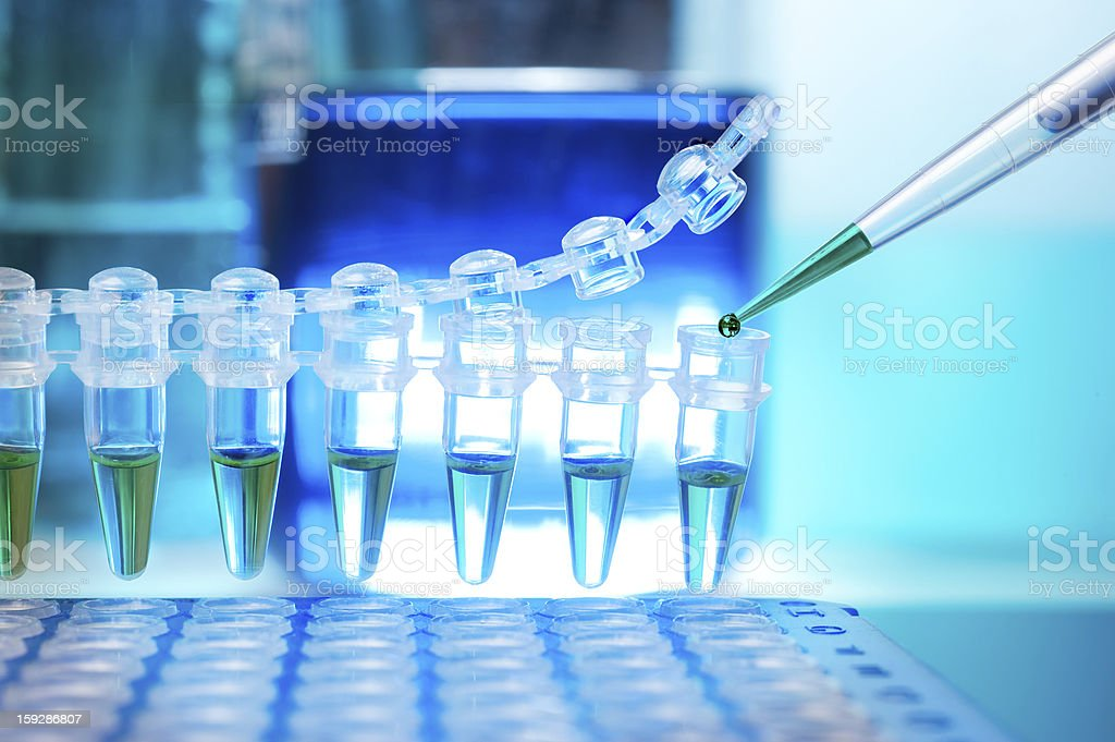 Tubes in lab for DNA amplification stock photo