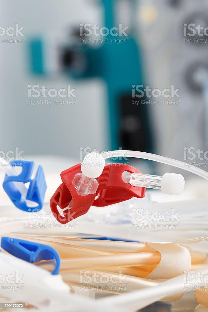 Tubes of hemodialysis machine stock photo