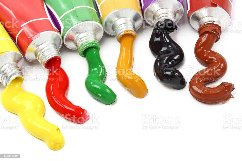 Tubes with colorful paints royalty-free stock photo