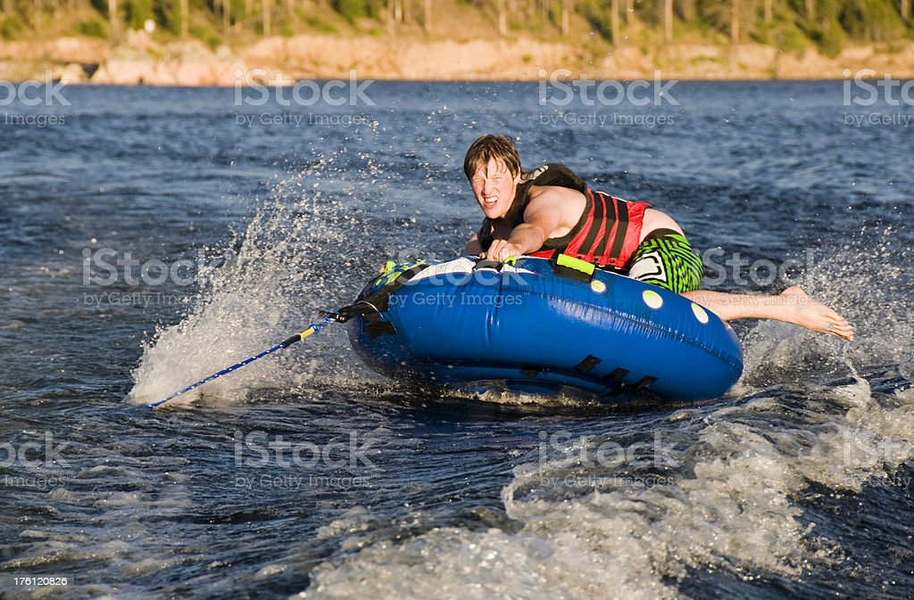Tubing on a Lake stock photo