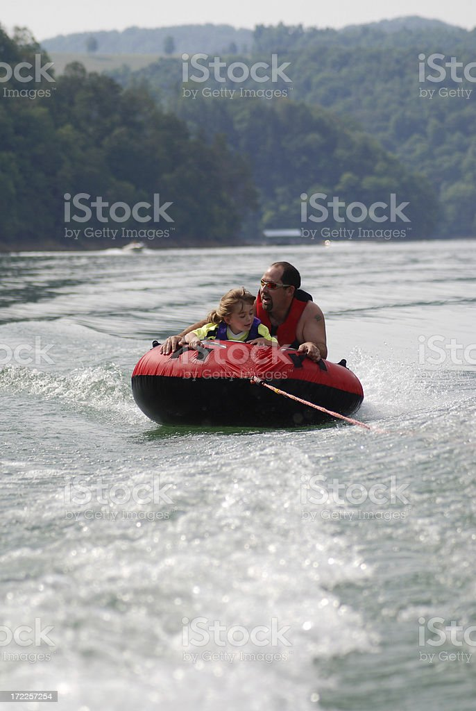 Tubing with my Daddy royalty-free stock photo