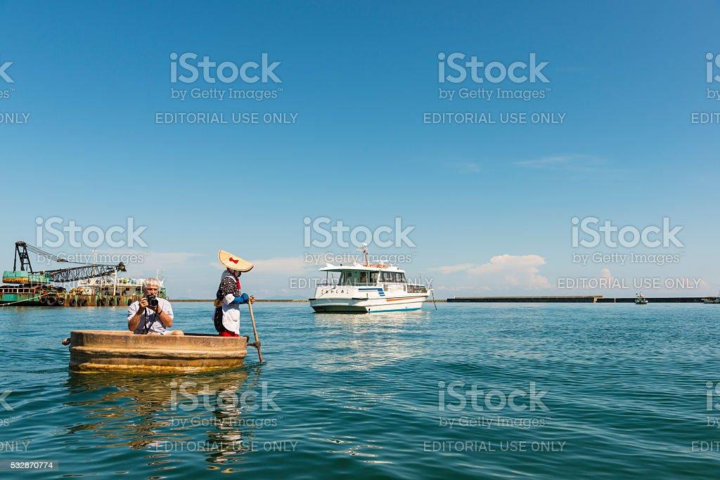 Tub-shaped boats stock photo