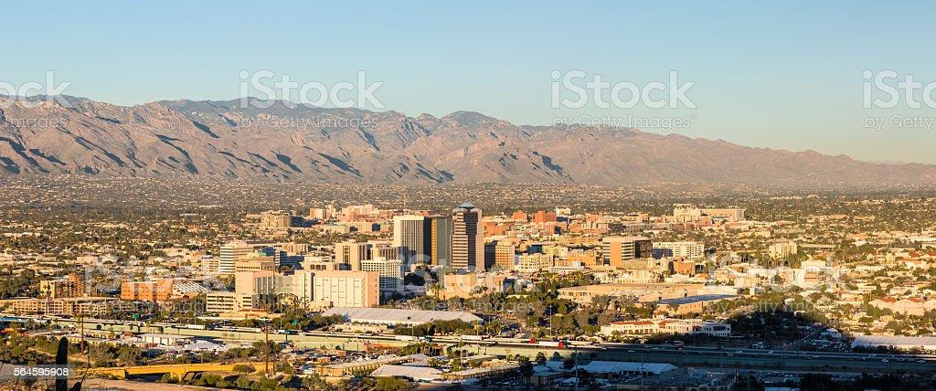 Tucson Arizona from Sentinel Peak Park with Sentinel Peak Shadow stock photo