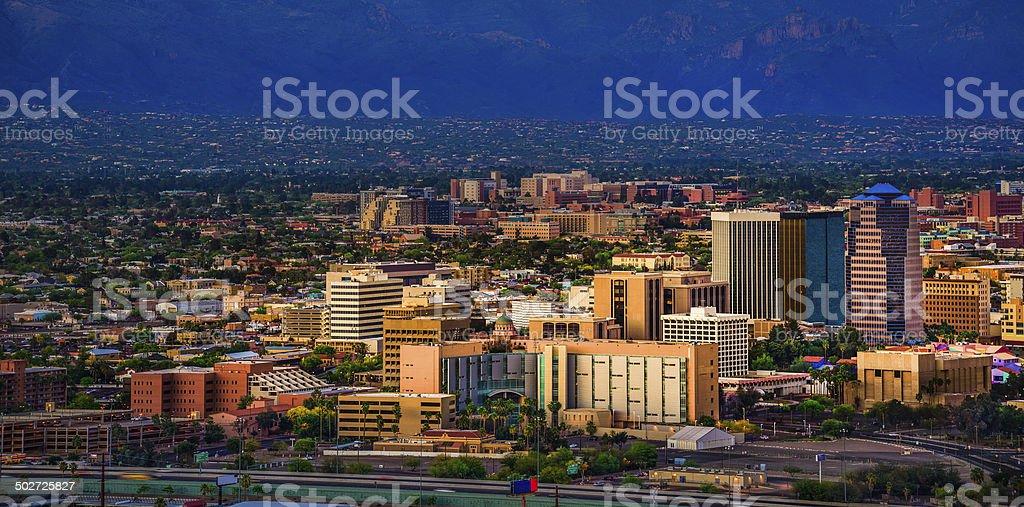 Tucson Arizona panoramic cityscape and Santa Catalina Mountains at sunset royalty-free stock photo