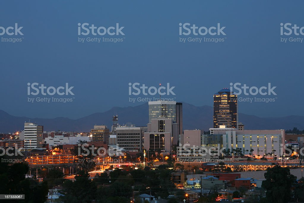 Tucson Arizona Skyline At Twilight stock photo