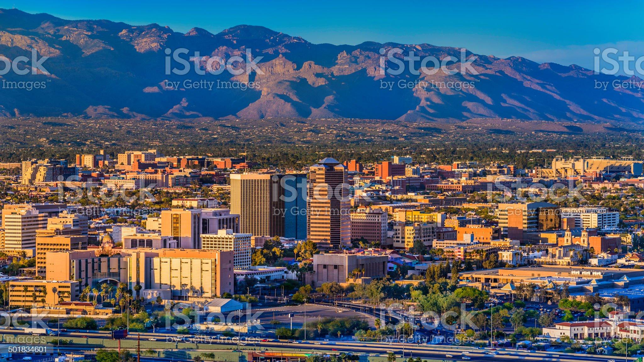 Tucson Arizona skyline cityscape and Santa Catalina Mountains at sunset royalty-free stock photo