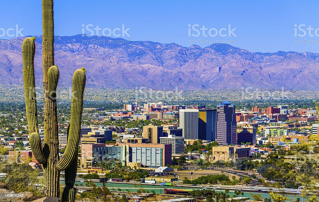 Tucson Arizona skyline cityscape framed by saguaro cactus and mountains stock photo
