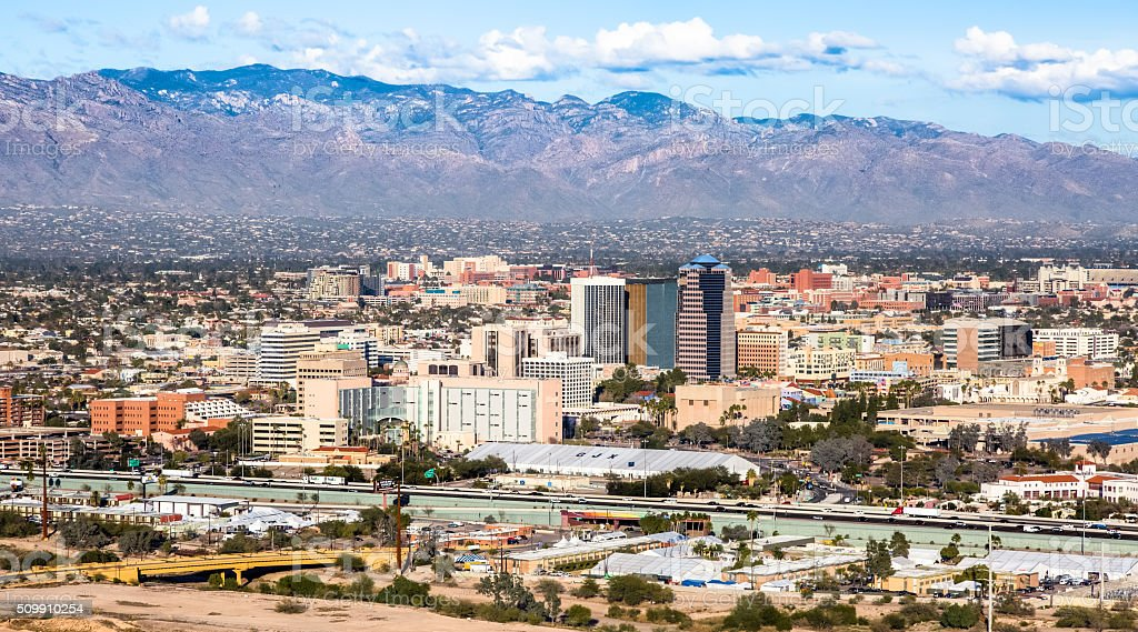 Tucson, Catalina Mountains, Santa Cruz River From Sentinel Peak Park stock photo