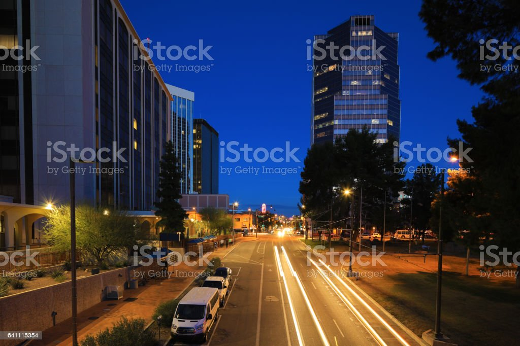Tucson city center at night with traffic stock photo