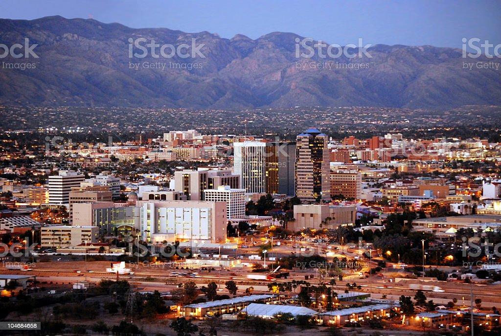 Tucson skyline after dark stock photo