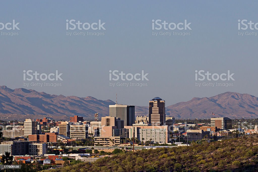 Tucson Skyline and Downtown Against Distant Mountains stock photo