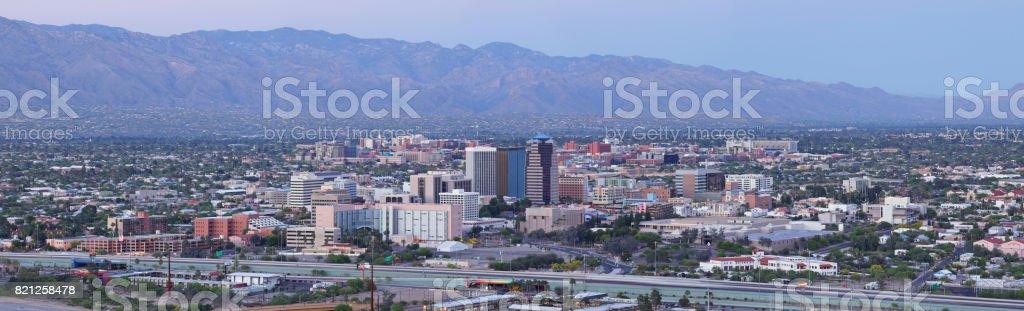 Tucson Skyline at Dusk stock photo