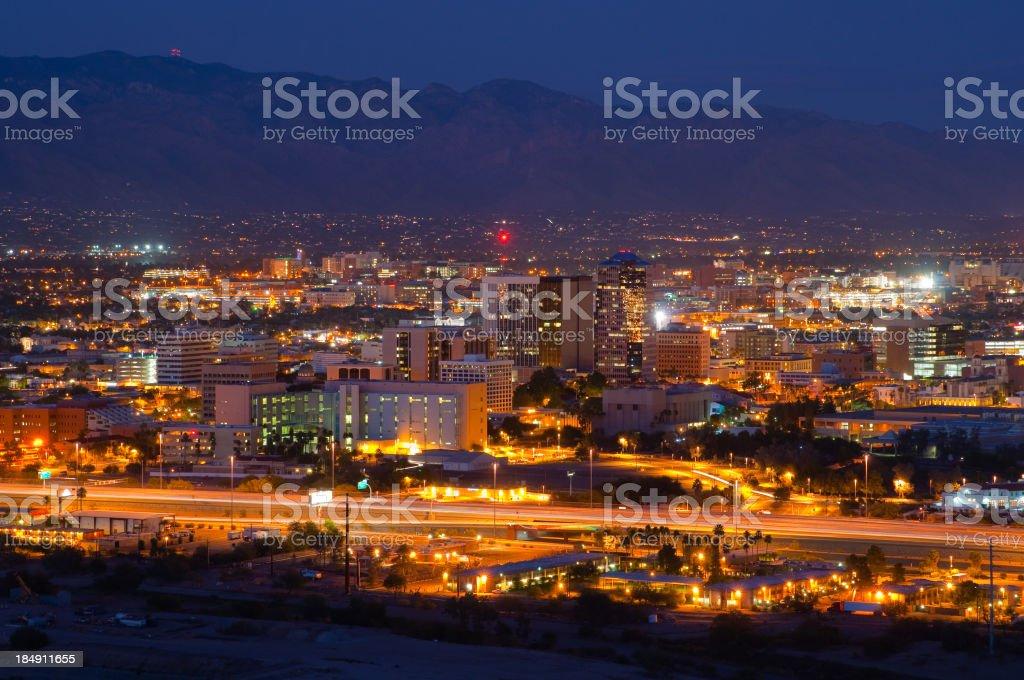 Tucson skyline at night stock photo