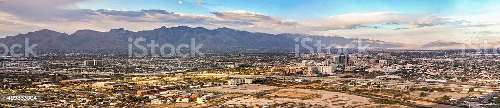 Tucson Skyline Downtown and Santa Catalina Mountains - Panoramic stock photo