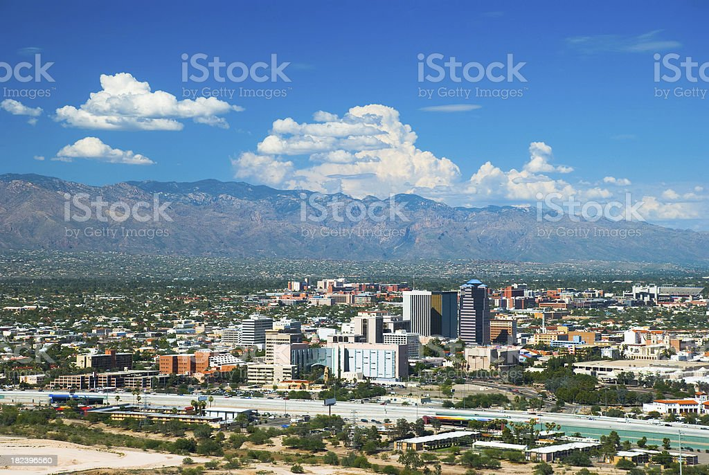 Tucson skyline, mountains, and clouds stock photo