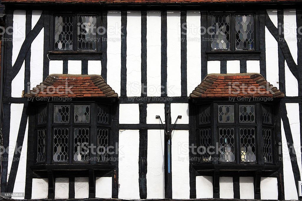 Tudor Beamed Building In Close Crop royalty-free stock photo