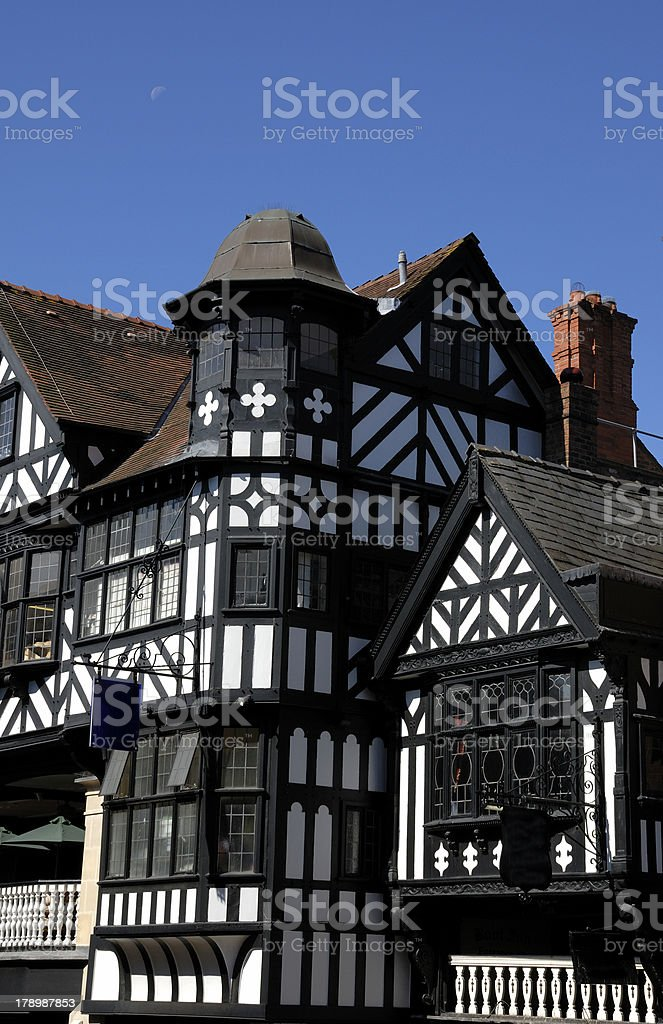Tudor Black and White Building stock photo